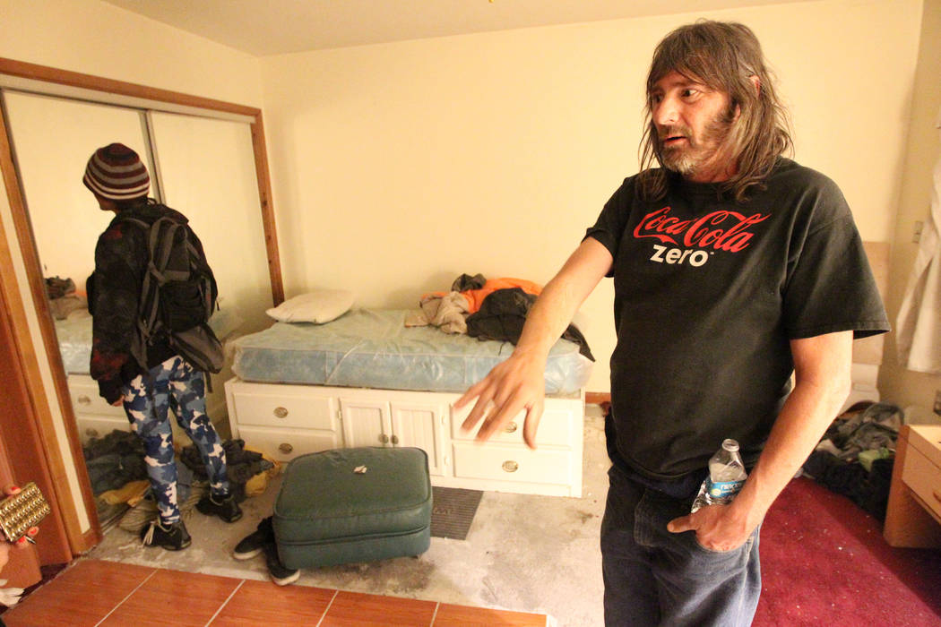 Andy Impereti talks to a reporter in his room at 724 N. 9th St. in downtown Las Vegas Thursday, Jan. 25, 2018. The home was part of a Nevada state program that pays providers to house and feed men ...