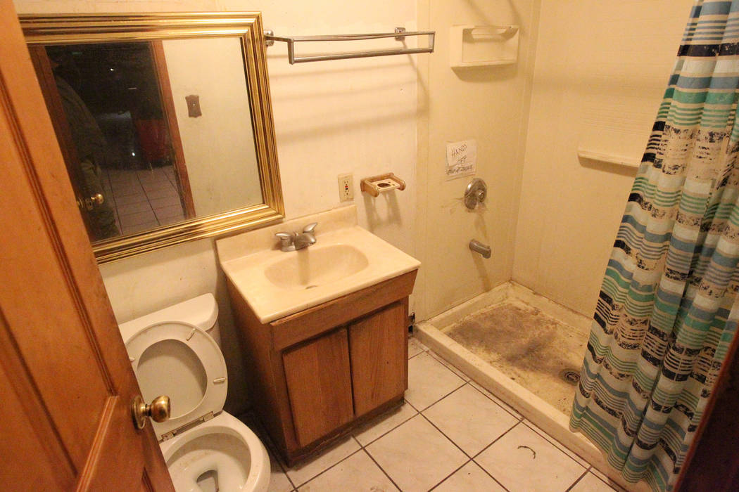 A bathroom in a home at 724 N. 9th St. in downtown Las Vegas is shown Thursday, Jan. 25, 2018. The home was part of a Nevada state program that pays providers to house and feed mentally ill client ...