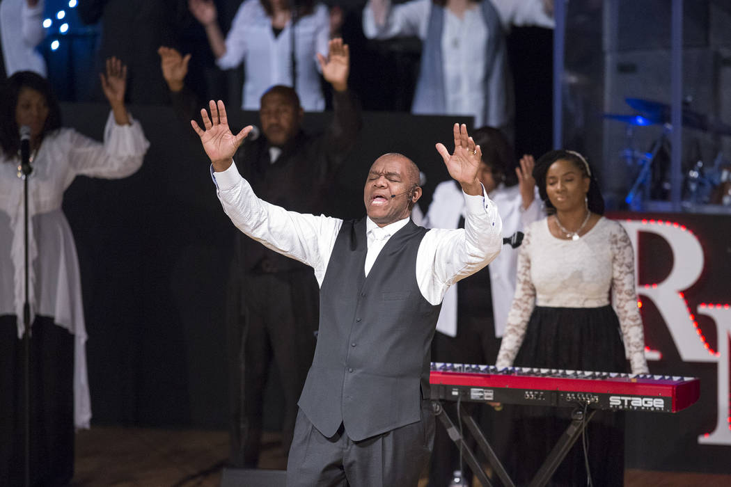 Former Philadelphia Eagles quarterback and Remnant Ministries Pastor Randall Cunningham welcomes guest before a sermon at the church on Sunday, Jan. 28, 2018. Richard Brian/Las Vegas Review-Journa ...