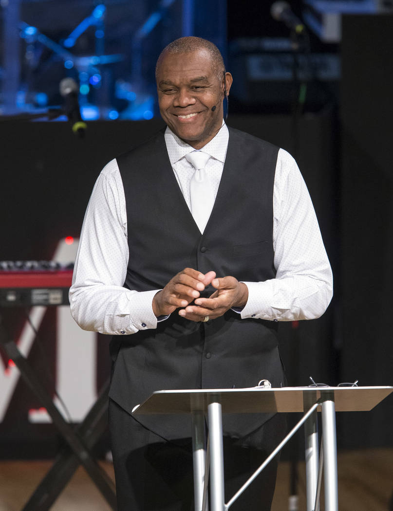 Former Philadelphia Eagles quarterback and Remnant Ministries Pastor Randall Cunningham delivers a sermon at the church on Sunday, Jan. 28, 2018. Richard Brian/Las Vegas Review-Journal @vegasphoto ...