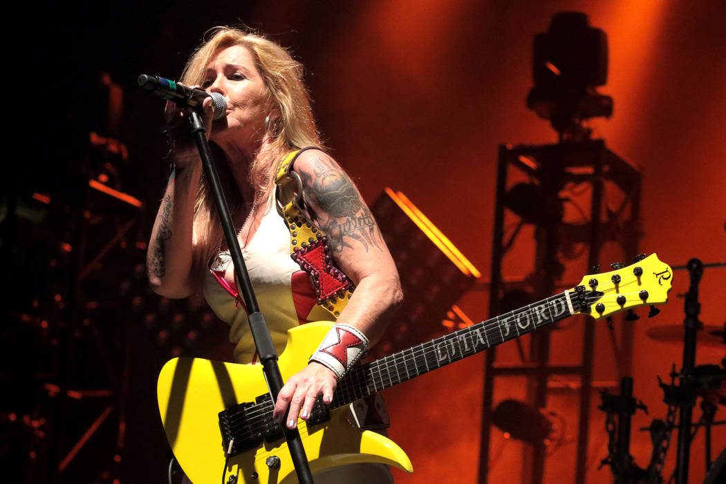 Lita Ford performs in concert as the opening act for Halestorm at the Santander Arena on Friday, April 1, 2016, in Reading, Pa.  (Photo by Owen Sweeney/Invision/AP)