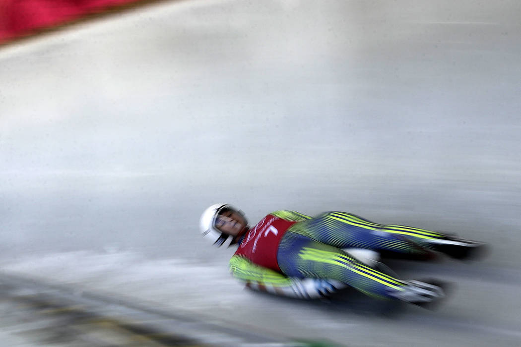 Croatia's Daria Obratov practices for the women's luge competition in the 2018 Winter Olympics at the Olympic Sliding Center in Pyeongchang, South Korea, Tuesday, Feb. 6, 2018. (AP Photo/Charlie R ...