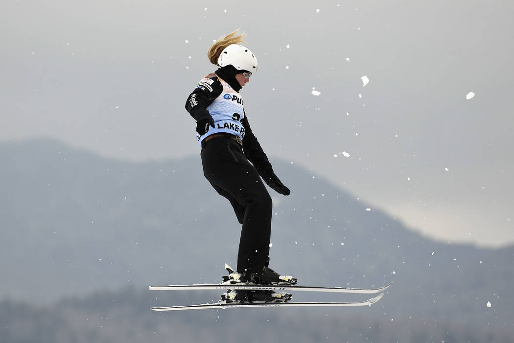 Morgan Northrop, of the United States, competes in the women's World Cup freestyle skiing aerials in Lake Placid, N.Y., Saturday, Jan. 20, 2018. (AP Photo/Hans Pennink)