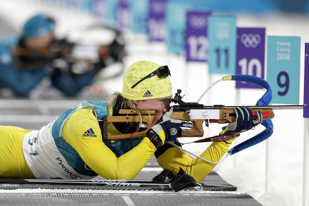 Sebastian Samuelsson, of Sweden, shoots during the men's 20-kilometer individual biathlon at the 2018 Winter Olympics in Pyeongchang, South Korea, Thursday, Feb. 15, 2018. (AP Photo/Andrew Medichini)