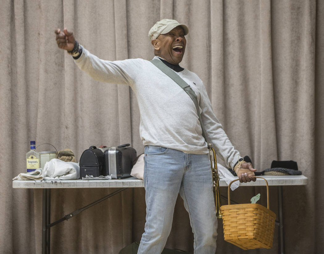 """Bubba Knight sings during a scene in rehearsal for the Nevada Conservatory Theatre's """"Fences"""" at the Alta Ham Fine Arts Building on Monday, Jan. 29, 2018, at UNLV, in Las Vegas.  ..."""
