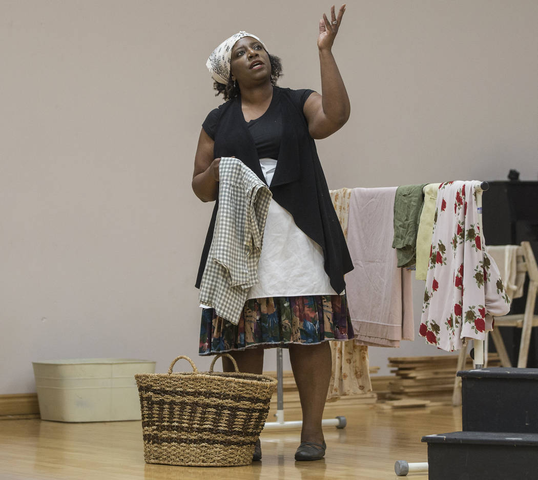 """Deanna Reed-Foster works through a scene during rehearsal for the Nevada Conservatory Theatre's """"Fences"""" at the Alta Ham Fine Arts Building on Monday, Jan. 29, 2018, at UNLV, in  ..."""