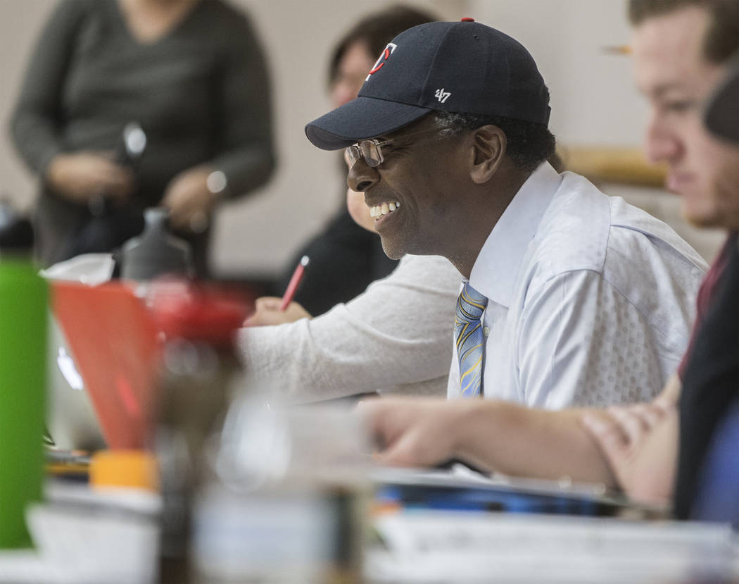 """Director Harry Waters Jr. enjoys a scene during rehearsal for the Nevada Conservatory Theatre's """"Fences"""" at the Alta Ham Fine Arts Building on Monday, Jan. 29, 2018, at UNLV, in Las Vegas. Benjami ..."""