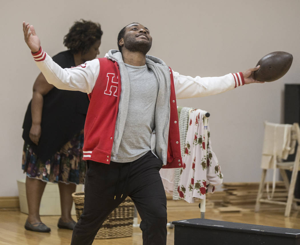 """Tavius Strickland works through a scene during rehearsal for the Nevada Conservatory Theatre's """"Fences"""" at the Alta Ham Fine Arts Building on Monday, Jan. 29, 2018, at UNLV, in L ..."""