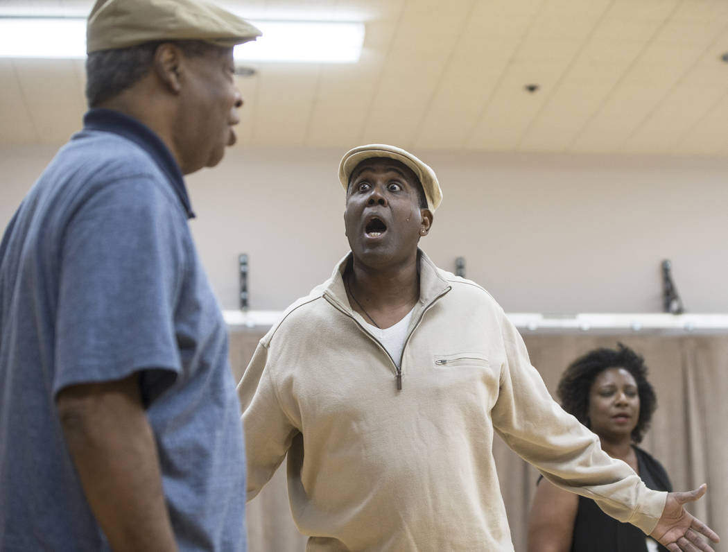 """James Austin Williams, middle, works through a scene during rehearsal for the Nevada Conservatory Theatre's """"Fences"""" at the Alta Ham Fine Arts Building on Monday, Jan. 29, 2018,  ..."""