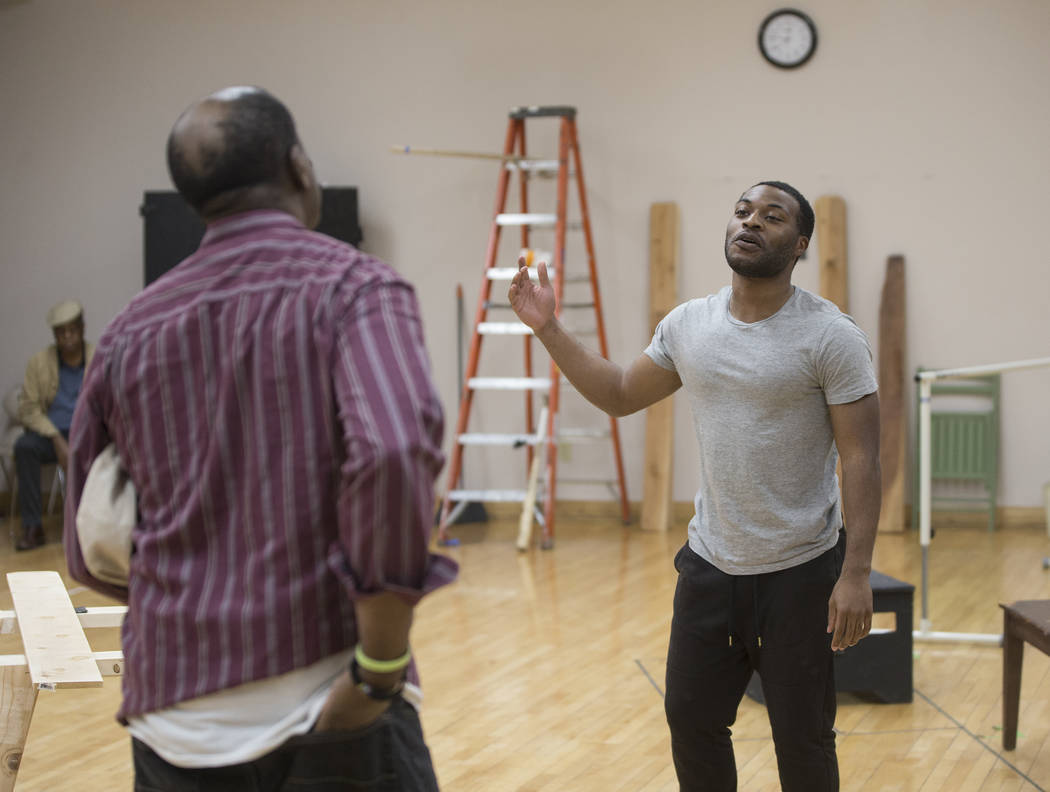 """Tavius Strickland, right, and James Austin Williams work through a scene during rehearsal for the Nevada Conservatory Theatre's """"Fences"""" at the Alta Ham Fine Arts Building on Mon ..."""