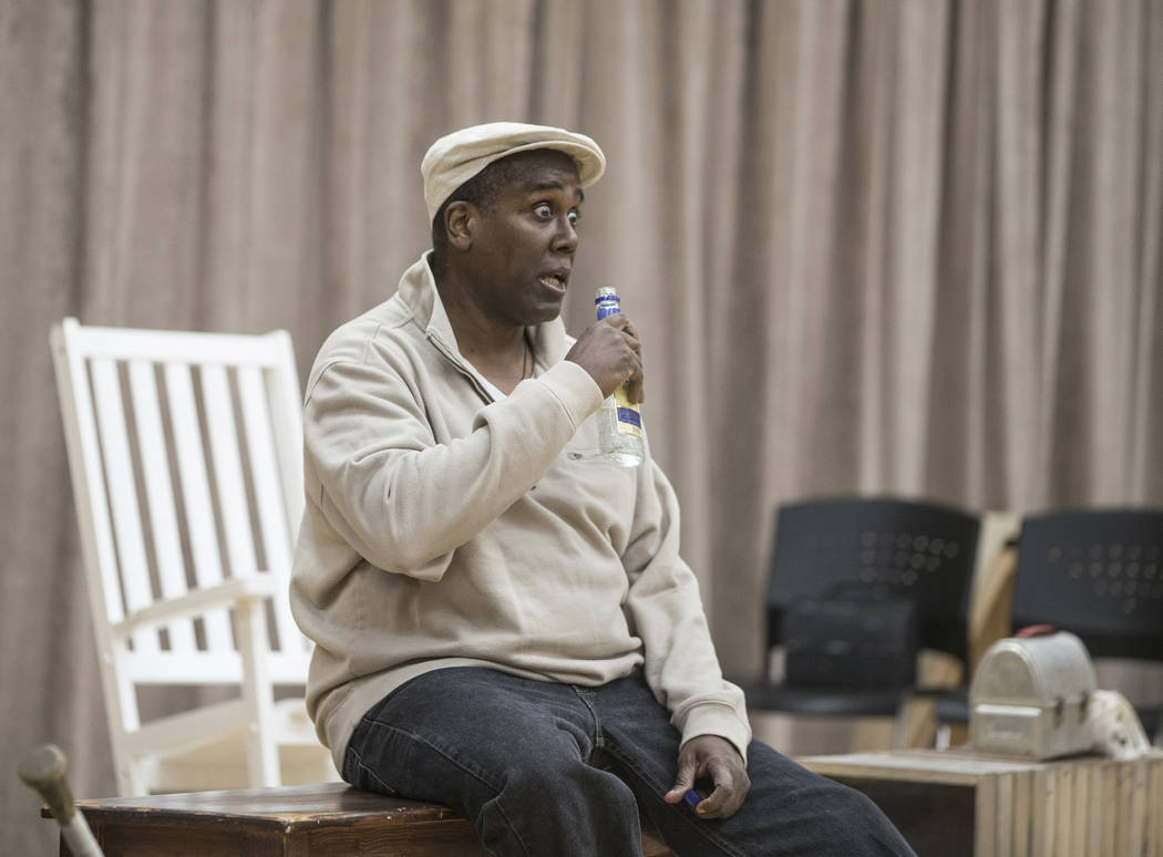 """James Austin Williams works through a scene during rehearsal for the Nevada Conservatory Theatre's """"Fences"""" at the Alta Ham Fine Arts Building on Monday, Jan. 29, 2018, at UNLV,  ..."""