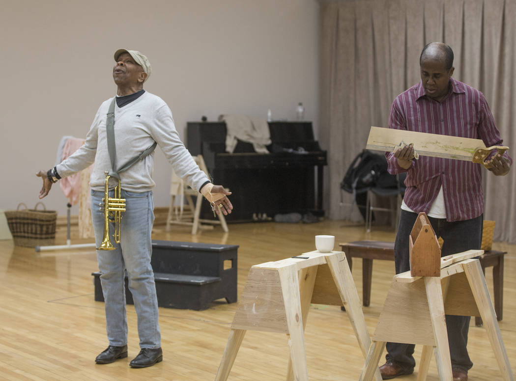 """Bubba Knight, left, and James Austin Williams work through a scene during rehearsal for the Nevada Conservatory Theatre's """"Fences"""" at the Alta Ham Fine Arts Building on Monday, J ..."""