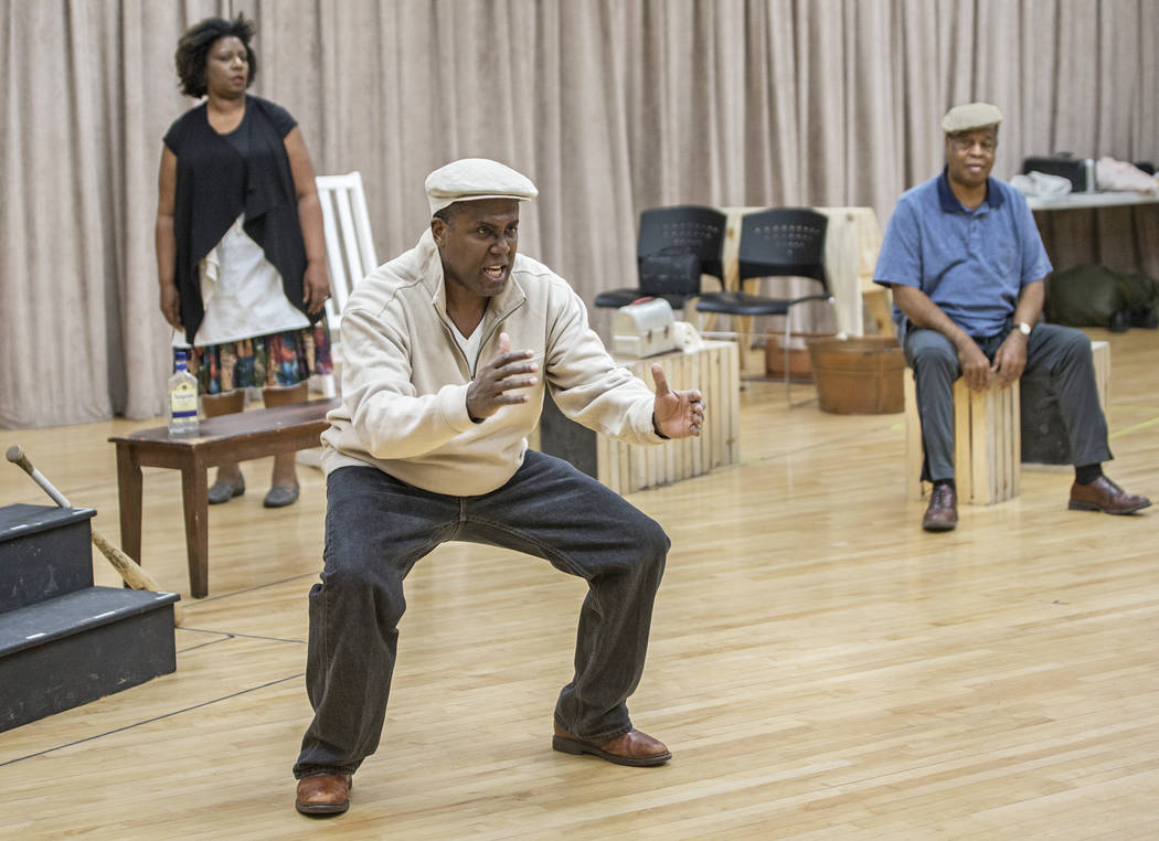"""James Austin Williams, left, works through a scene during rehearsal for the Nevada Conservatory Theatre's """"Fences"""" at the Alta Ham Fine Arts Building on Monday, Jan. 29, 2018, at ..."""