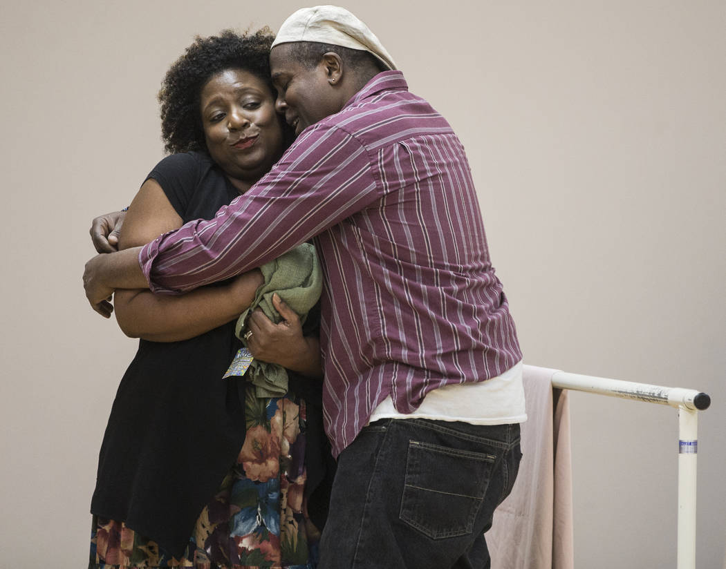 """Deanna Reed-Foster, left, and James Austin Williams work through a scene during rehearsal for the Nevada Conservatory Theatre's """"Fences"""" at the Alta Ham Fine Arts Building on Mon ..."""