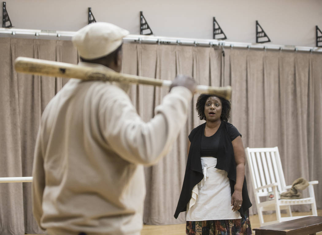 """Deanna Reed-Foster, right, works through a scene during rehearsal for the Nevada Conservatory Theatre's """"Fences"""" at the Alta Ham Fine Arts Building on Monday, Jan. 29, 2018, at U ..."""