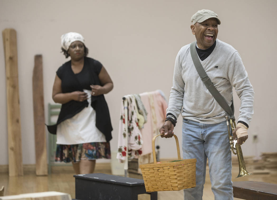 """Bubba Knight, right, works through a scene during rehearsal for the Nevada Conservatory Theatre's """"Fences"""" at the Alta Ham Fine Arts Building on Monday, Jan. 29, 2018, at UNLV, i ..."""