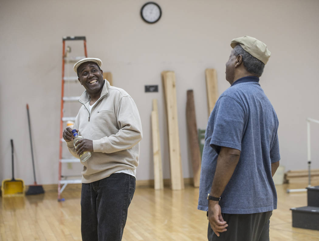 """James Austin Williams, left, and Alfred H. Wilson work through a scene during rehearsal for the Nevada Conservatory Theatre's """"Fences"""" at the Alta Ham Fine Arts Building on Monda ..."""