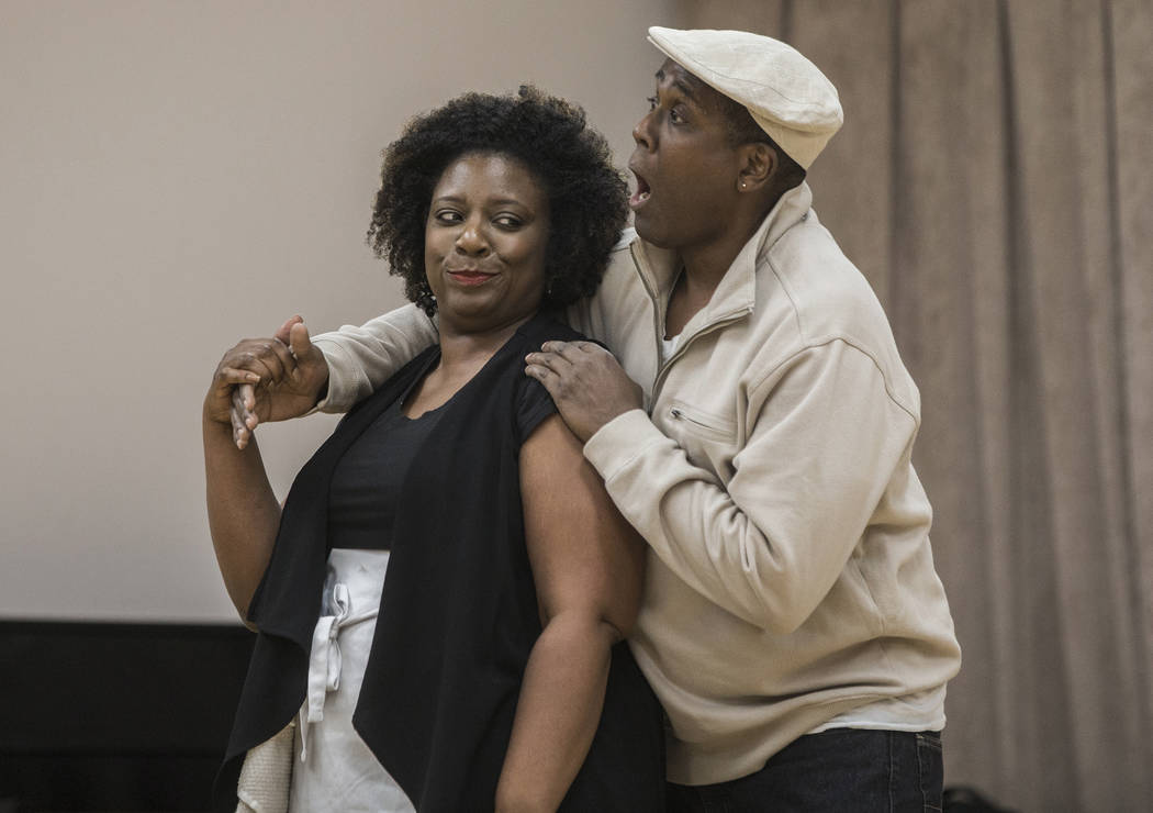 """James Austin Williams, right, and Deanna Reed-Foster work through a scene during rehearsal for the Nevada Conservatory Theatre's """"Fences"""" at the Alta Ham Fine Arts Building on Mo ..."""