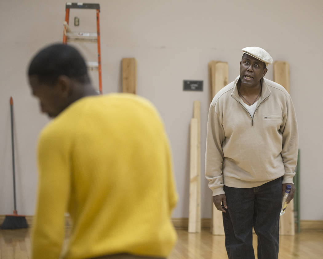 """James Austin Williams, right, works through a scene during rehearsal for the Nevada Conservatory Theatre's """"Fences"""" at the Alta Ham Fine Arts Building on Monday, Jan. 29, 2018, a ..."""