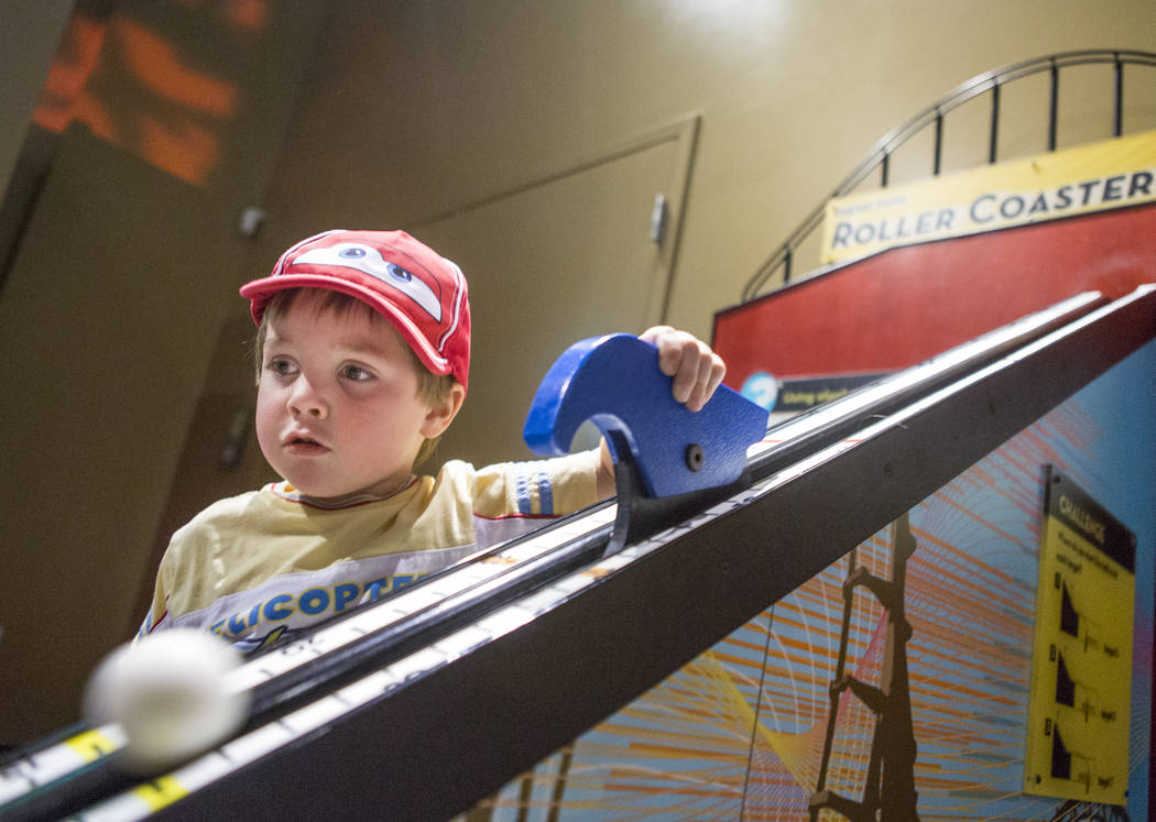 """Jacob Wierschke, 3, plays with a roller coaster hill at """"Design Zone,"""" a new exhibit in the Discovery Children's Museum in Las Vegas on Saturday, Jan. 27, 2018.  Patrick Connolly ..."""