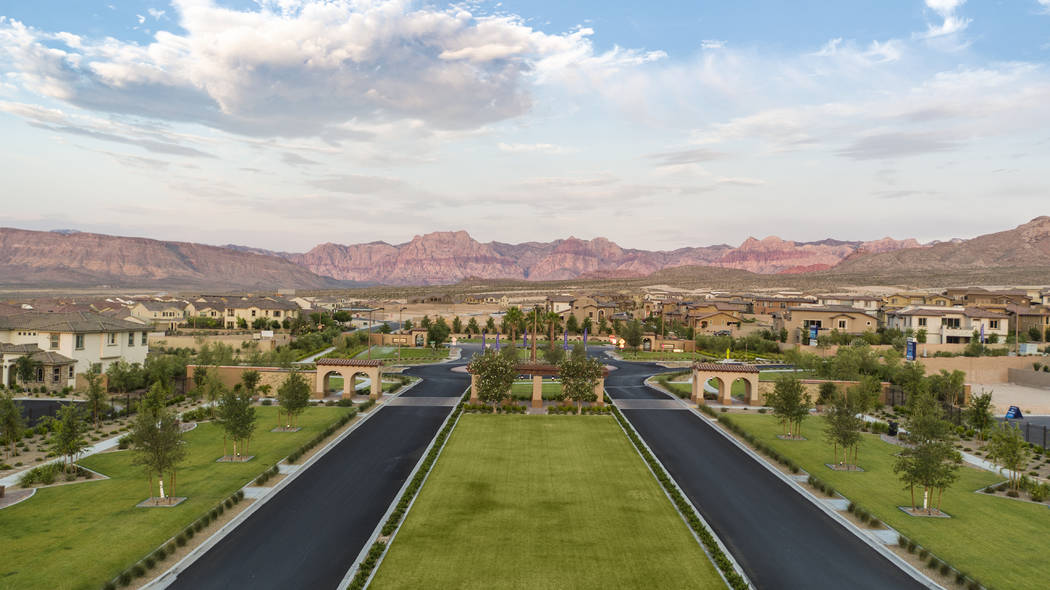 Six neighborhoods in the master-planned community of Summerlin are nearing close-out. Among these are Belmonte by Woodside Homes and Capistrano by CalAtlanitc Homes which share an entry in The Pas ...