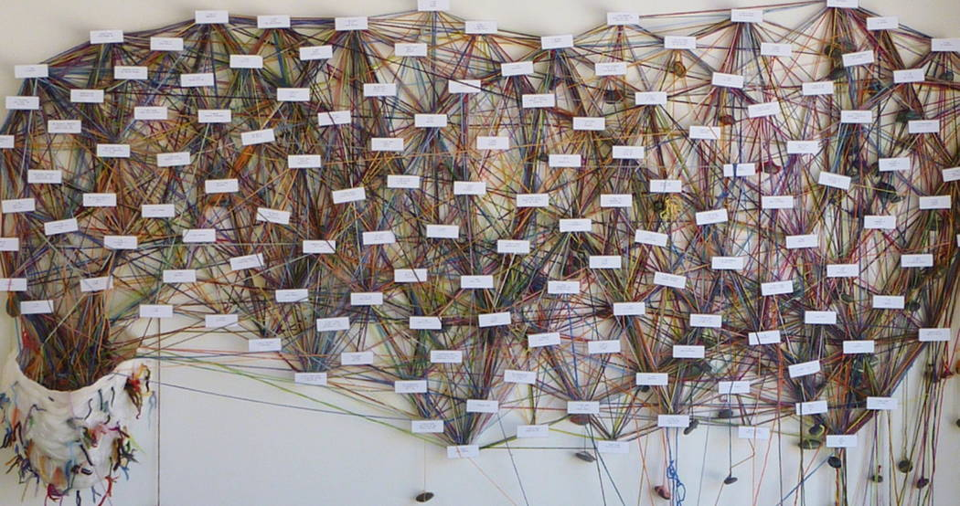 """Barrick Museum of Art, UNLV  ArtistMary Corey March's""""Identity Tapestry"""" commemorates the Oct. 1 mass shootings -- and invites visitors to participate in its creation."""