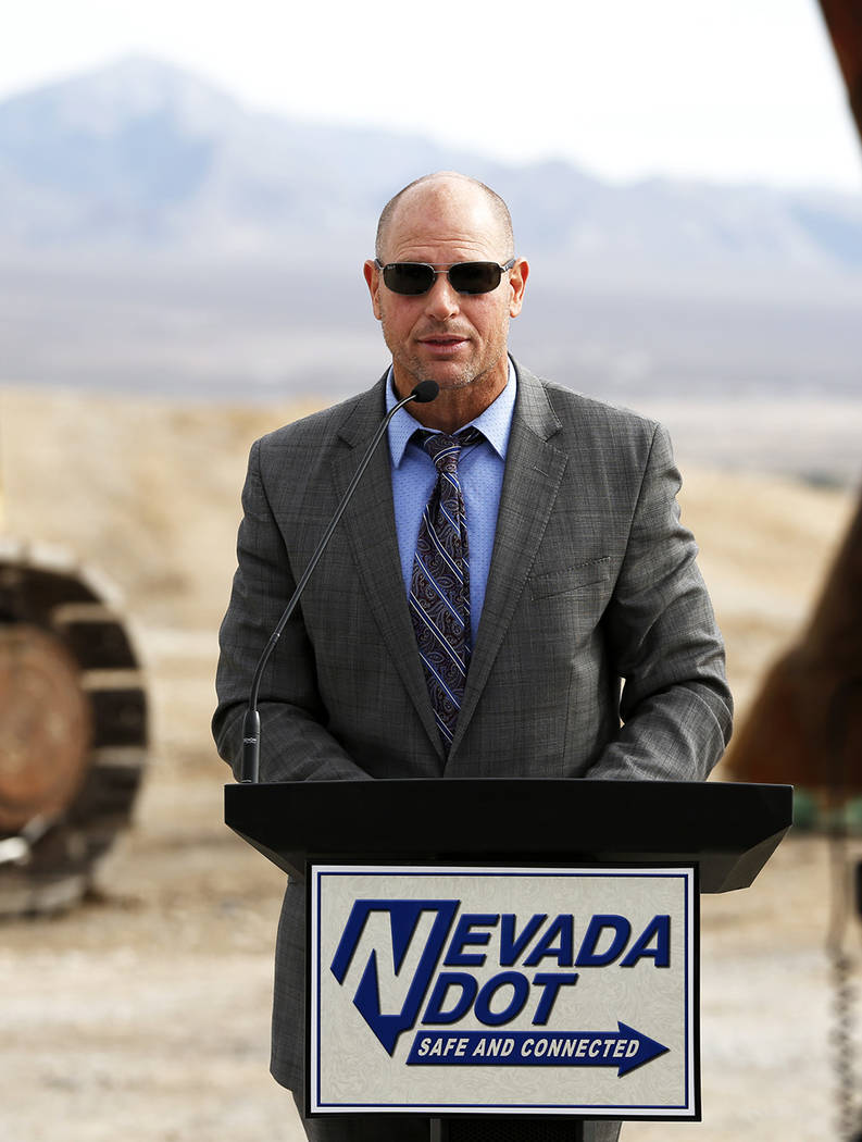 Nevada Department of Transportation Deputy Director Bill Hoffman leads the NDOT presser, which discussed the $65 million project aimed at improving a six mile stretch of U.S. Highway 95 in Las Veg ...