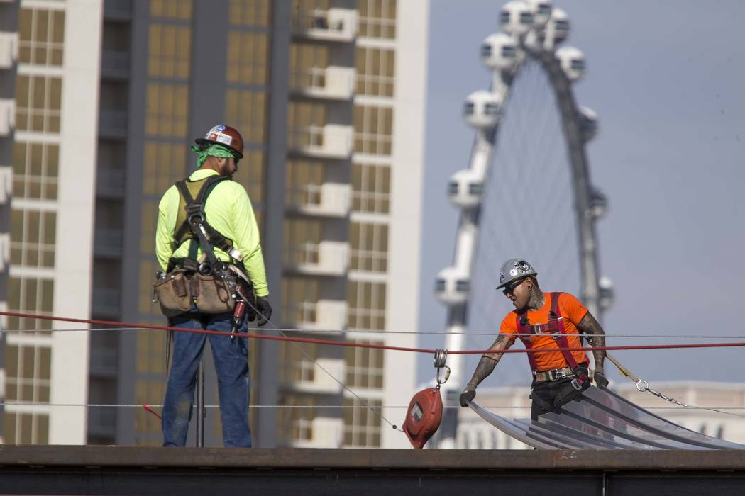 Construction continues at MGM Grand's Conference Center expansion on Friday, Jan. 19, 2018. Construction is one of the leaders in employment in Nevada. (Richard Brian/Las Vegas Review-Journal) @ve ...