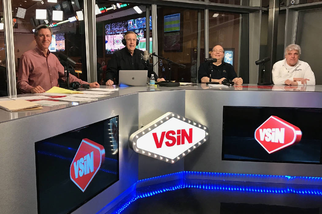 Broadcast legend Brent Musburger (second from left) and his Guys in the Desert: Oddsmakers (from left) Vinny Magliulo, Chris Andrews and Jimmy Vaccaro (Courtesy: VSiN)