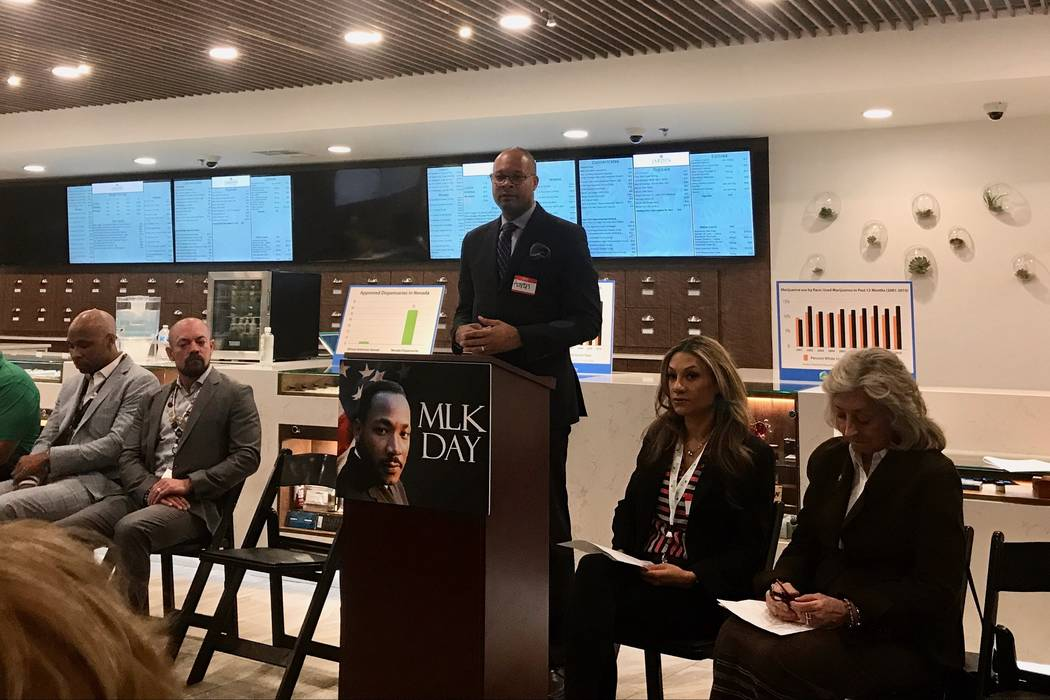 Senate Majority Leader Aaron Ford, D-Las Vegas speaks about the lack of minority involvement in the marijuana industry at Jardin Dispensary in Las Vegas on Jan. 12. (Madelyn Reese/View) @MadelynGReese