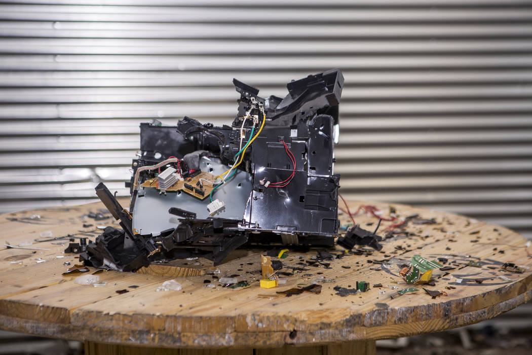 The remains of a smashed up printer at the Wreck Room in Las Vegas on Wednesday, Jan. 31, 2018. (Patrick Connolly/Las Vegas Review-Journal) @PConnPie