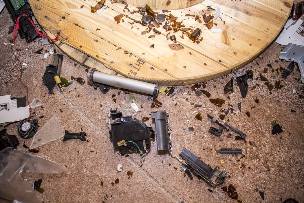 The debris leftover from a session at the Wreck Room in Las Vegas on Wednesday, Jan. 31, 2018. (Patrick Connolly/Las Vegas Review-Journal) @PConnPie