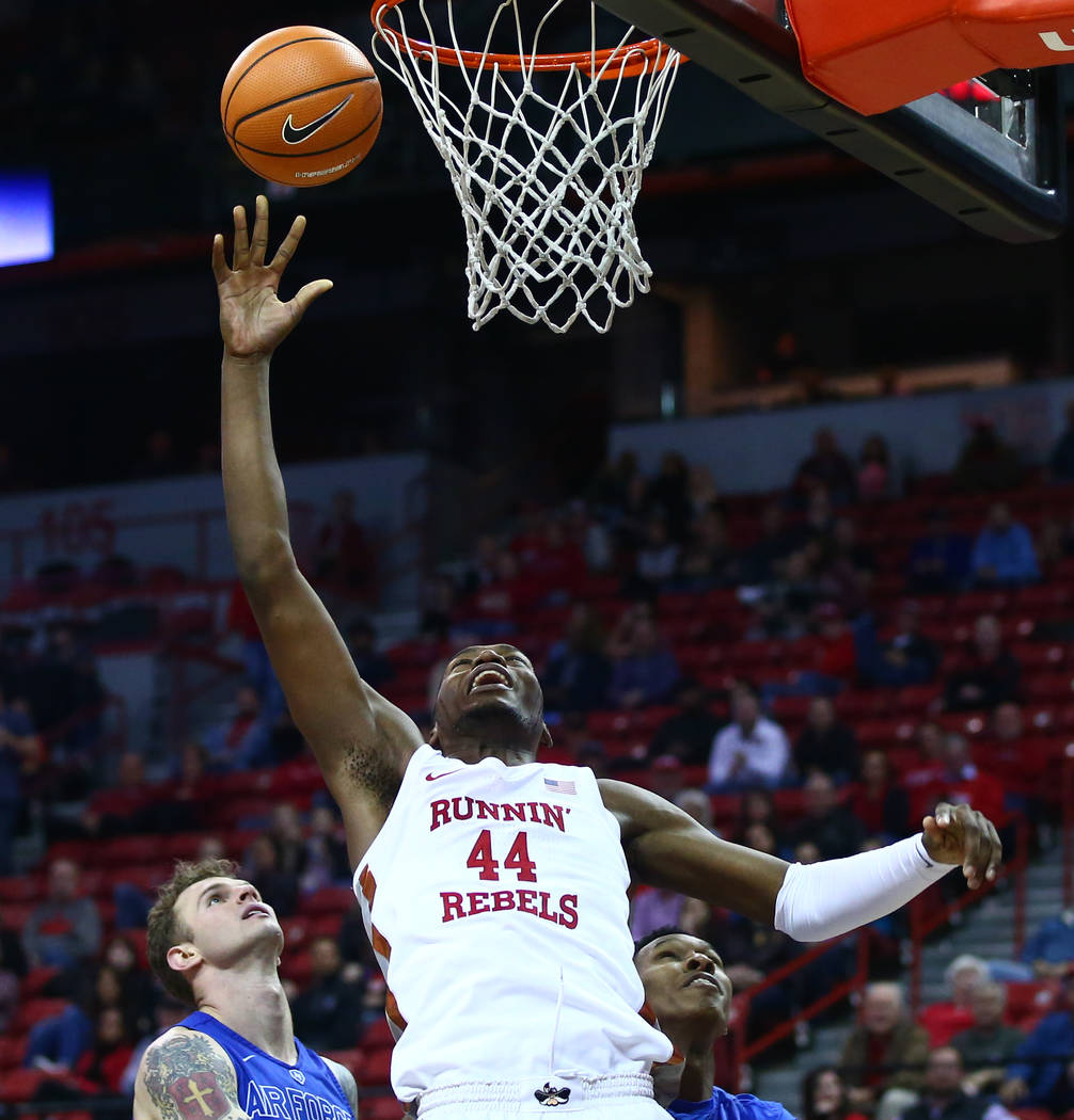 UNLV Rebels forward Brandon McCoy (44) comes up short on an attempted dunk against Air Force during a basketball game at the Thomas & Mack Arena in Las Vegas on Wednesday, Feb. 14, 2018. Chase ...