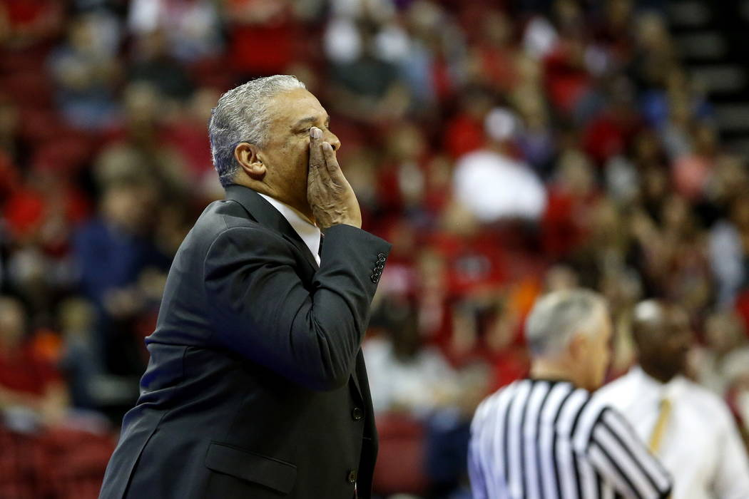 UNLV Rebels Head Coach Marvin Menzies reacts as his team plays against the Wyoming Cowboys at the Thomas and Mack Center in Las Vegas on Saturday, Feb. 10, 2018. Andrea Cornejo Las Vegas Review-Jo ...