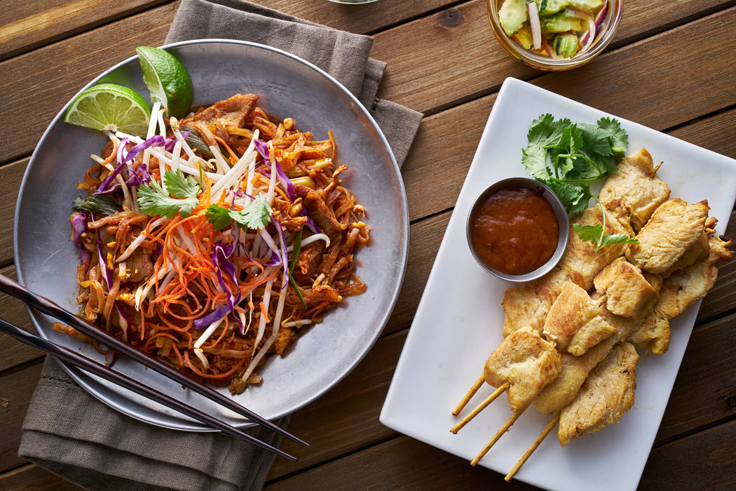 Beef pad thai and chicken satay dinner. Thinkstock