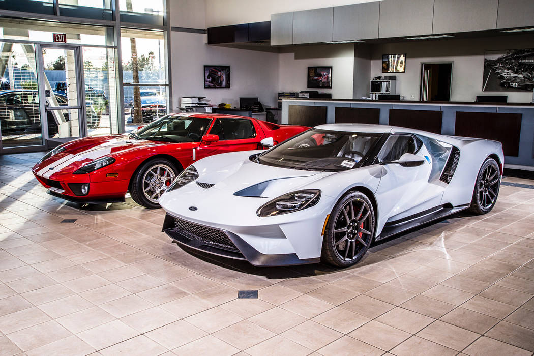 Team Ford Lincoln The all-new 2017 Ford GT (in white) is paired with the 2005 Ford GT (in red) on display at Team Ford Lincoln, U.S. 95 and Ann Road.