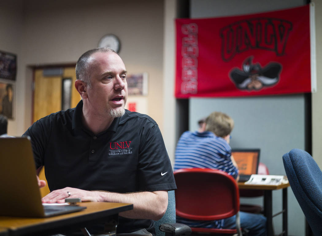 Jacob Thompson, director of the UNLV Debate Team, during a group meeting at UNLV in Las Vegas on Wednesday, Jan. 31, 2018. The team is ranked as one of the top debate programs in the country. Chas ...