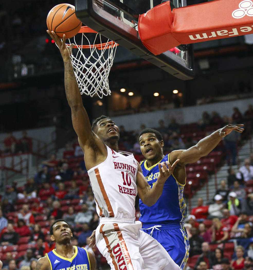 UNLV Rebels forward Shakur Juiston (10) goes to the basket against San Jose State Spartans guard Jaycee Hillsman (25) during a basketball game at the Thomas & Mack Center in Las Vegas on Wedne ...