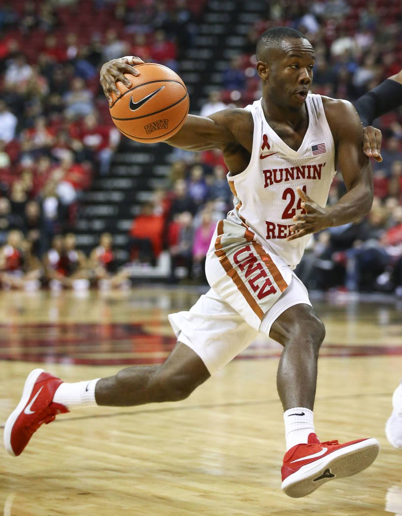 UNLV Rebels guard Jordan Johnson (24) drives the ball against the San Jose State Spartans during a basketball game at the Thomas & Mack Center in Las Vegas on Wednesday, Jan. 31, 2018. Chase S ...
