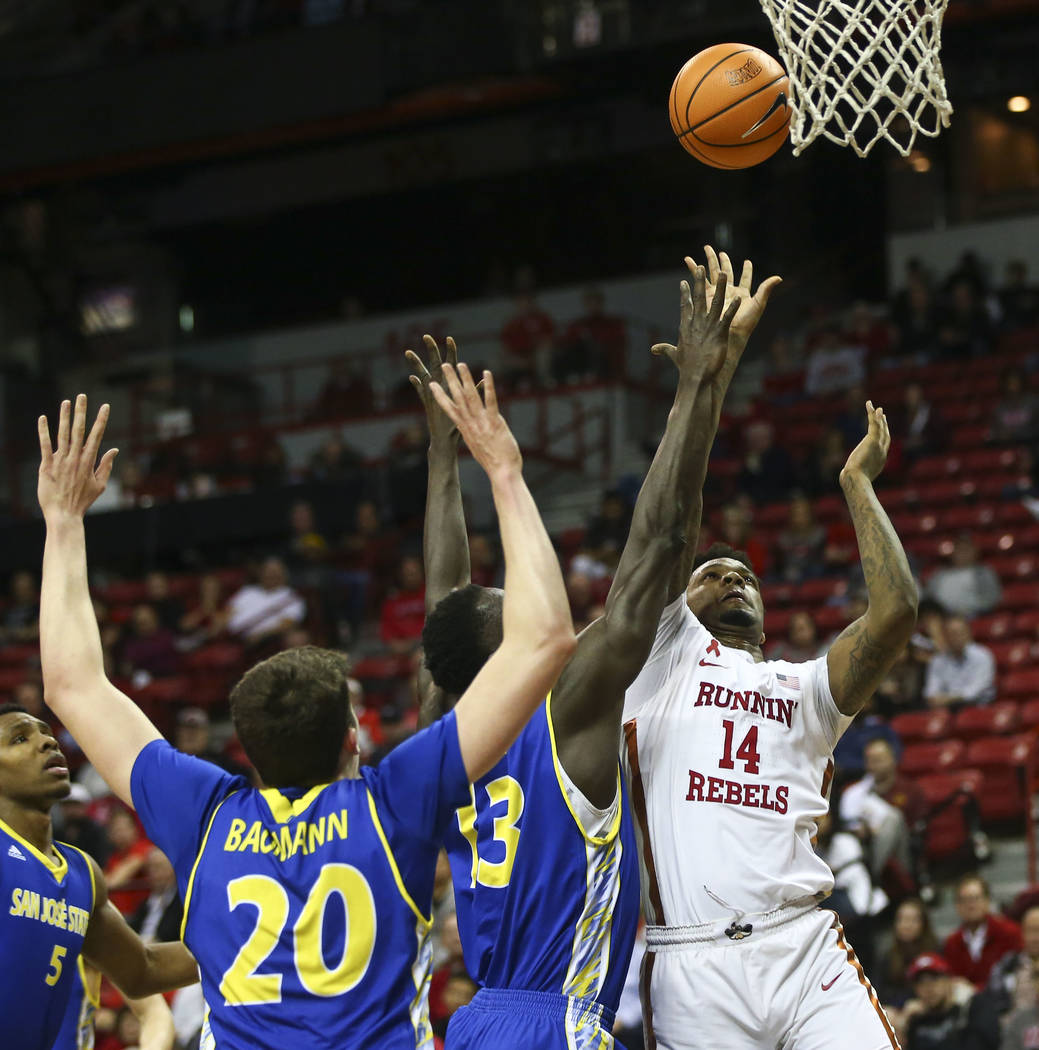 UNLV Rebels forward Tervell Beck (14) shoots to score against the San Jose State Spartans during a basketball game at the Thomas & Mack Center in Las Vegas on Wednesday, Jan. 31, 2018. Chase S ...