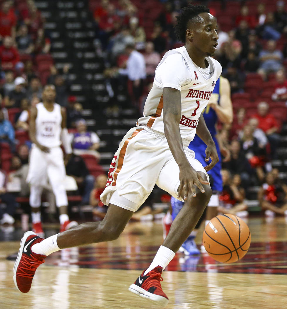 UNLV Rebels guard Kris Clyburn (1) brings the ball up court against San Jose State during a basketball game at the Thomas & Mack Center in Las Vegas on Wednesday, Jan. 31, 2018. Chase Stevens  ...