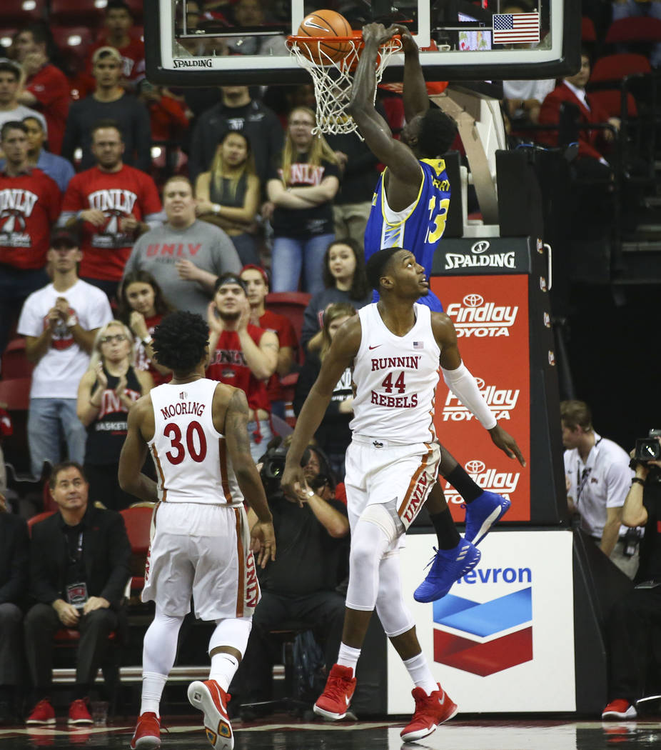 San Jose State Spartans center Oumar Barry (13) dunks against UNLV during a basketball game at the Thomas & Mack Center in Las Vegas on Wednesday, Jan. 31, 2018. Chase Stevens Las Vegas Review ...