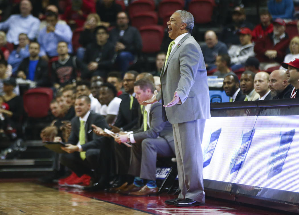 UNLV Rebels head coach Marvin Menzies reacts as his team plays San Jose State during a basketball game at the Thomas & Mack Center in Las Vegas on Wednesday, Jan. 31, 2018. Chase Stevens Las V ...