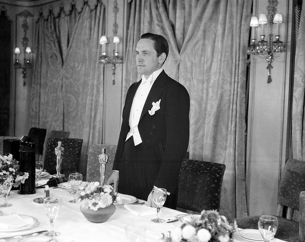 "Fredric March acknowledges the applause during dinner of the 1931-32 Motion Picture Academy Awards at the Ambassador Hotel in Hollywood, Ca., Nov. 18, 1932.  March won for best actor in "" ..."