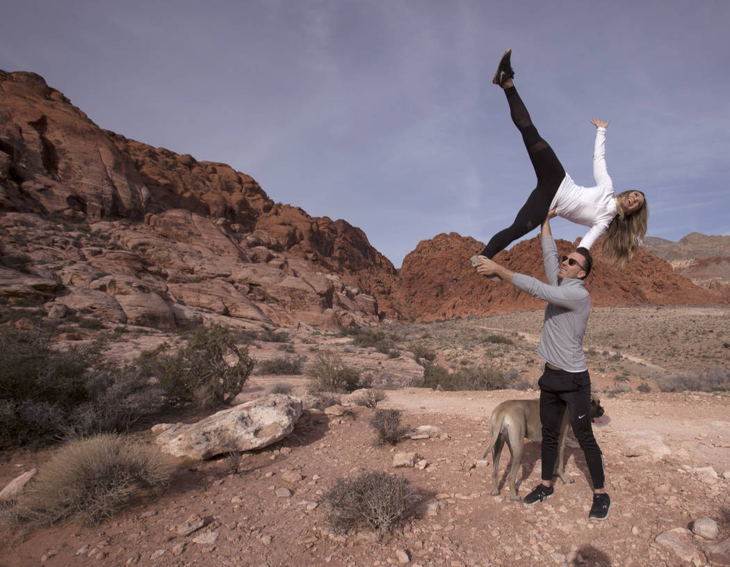 Megan Fazio and James Probst practice acroyoga near Red Springs picnic area in Red Rock Canyon National Conservation Area Thursday, Feb. 1, 2018. The couple met while hiking. K.M. Cannon Las Vegas ...