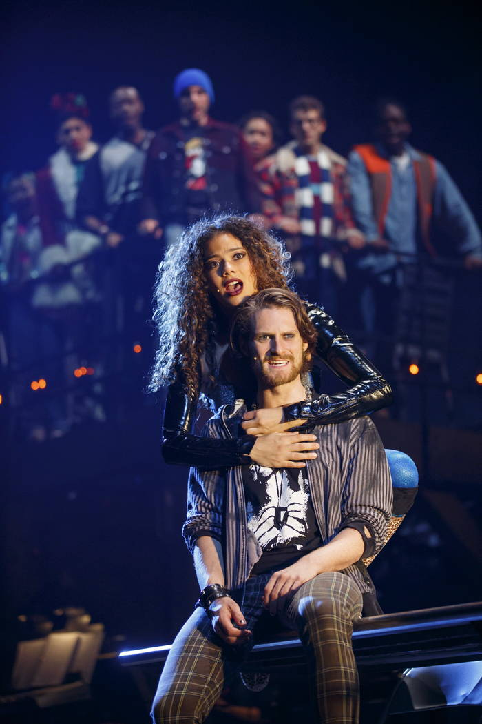 "Skyler Volpe, Kaleb Wells in the 20th-anniversary national tour of ""Rent,"" at The Smith Center through Feb. 4."