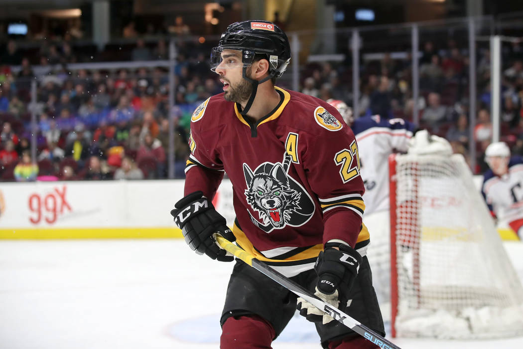 Chicago Wolves center Brandon Pirri (27) on the ice during the first period of the American Hockey League game between the Chicago Wolves and Cleveland Monsters on December 9, 2017, at Quicken Loa ...
