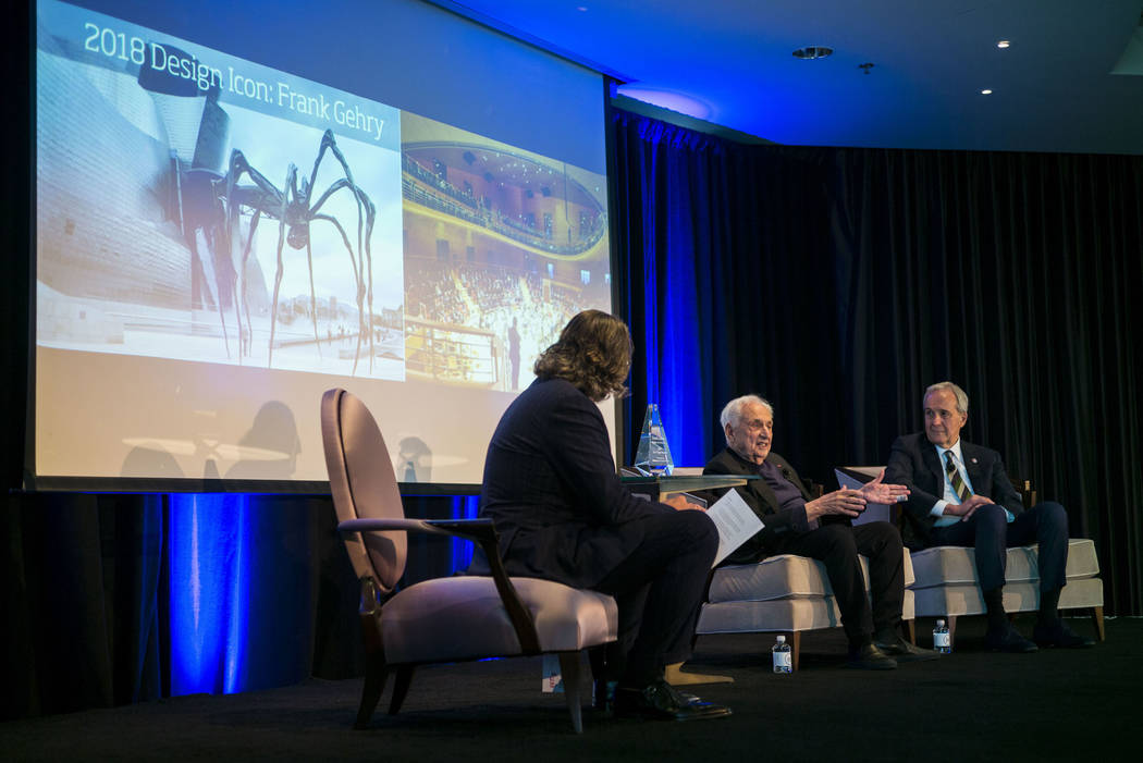 Famed architect Frank Gehry, center, who was named the 2018 Design Icon by Las Vegas Market, speaks during an event moderated by International Market Centers CEO Robert Maricich, left, as philanth ...