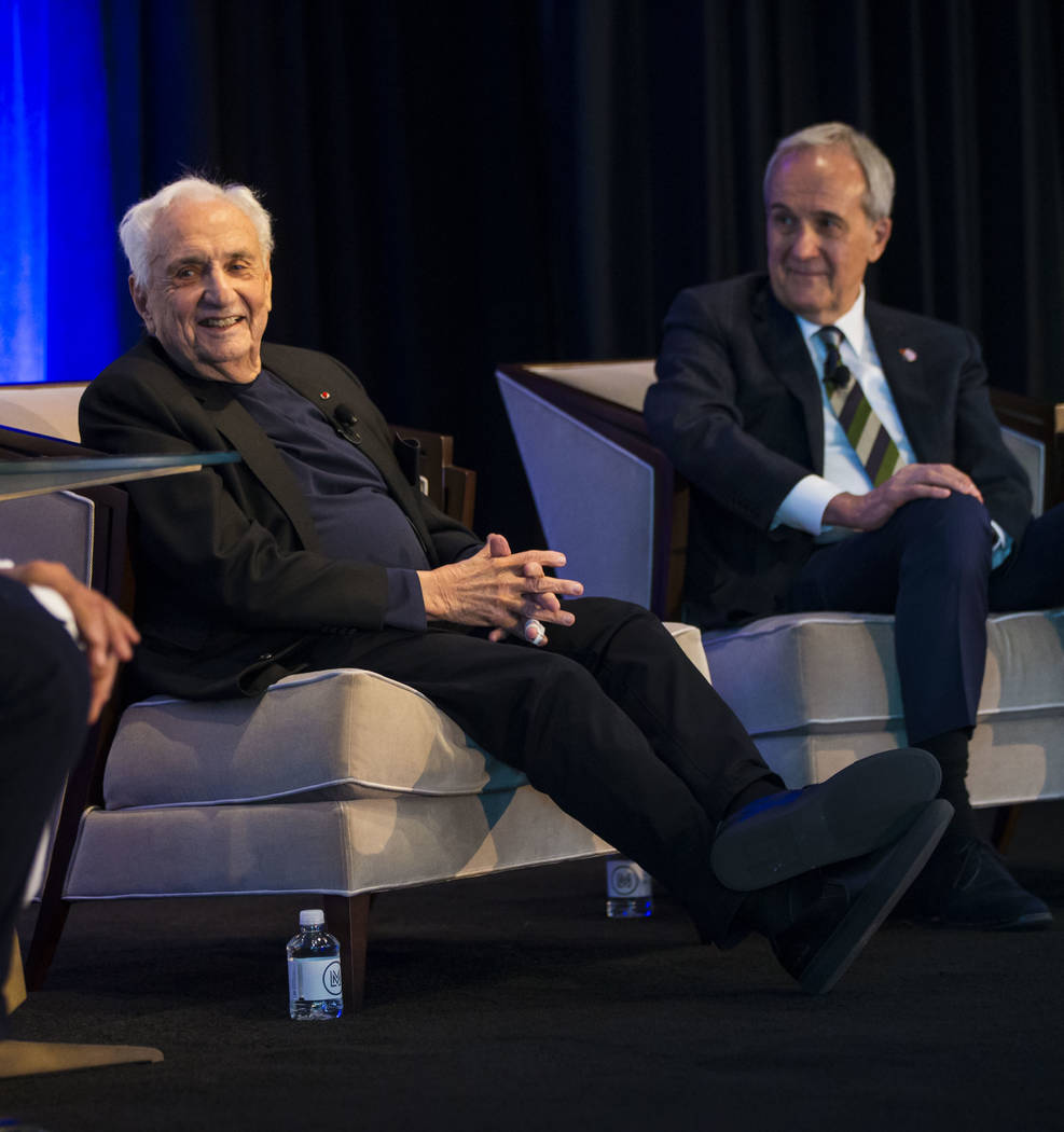 Famed architect Frank Gehry, who was named the 2018 Design Icon by Las Vegas Market, speaks during an event honoring him during the Las Vegas Market at the World Market Center in Las Vegas on Tues ...