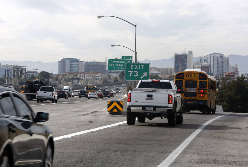 Motorist travel on Eastern Avenue bridge on Interstate 95 northbound on Thursday, Feb. 1, 2018, in Las Vegas. Bizuayehu Tesfaye/Las Vegas Review-Journal @bizutesfaye